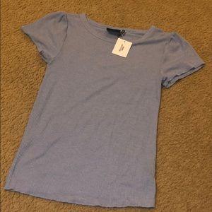 Peplum sleeved ribbed shirt